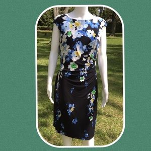 💼 LAUREN RALPH LAUREN BLACK FLORAL DRESS SIZE 12